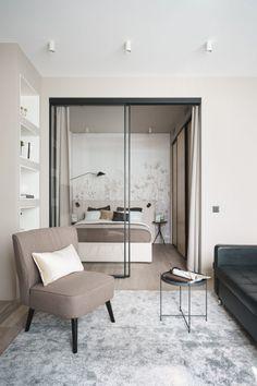 Flat Interior Design, Loft Design, Home Room Design, Design Bedroom, Small Apartment Design, Studio Apartment Decorating, Small Apartments, Apartment Ideas, Dispositions Chambre