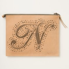 #custom #Cute Themed #gifts #hearttravelpouch #esoticadesigns -  Monogram N Leather Travel Pouch