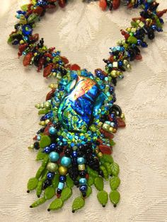 Janice Johnson's glass piece was the inspiration for this mega necklace  2005