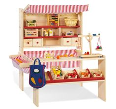 Childrens Wooden Shop Pretend Play Market Stall Toy Shop Supermarket