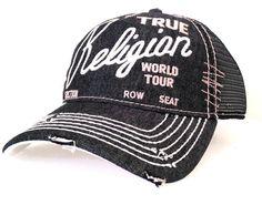 8574e01794f035 NWT TRUE RELIGION VINTAGE DISTRESSED BUDDHA TRUCKER HAT UNISEX CAP TR1749  BLACK #TrueReligion #BaseballCap