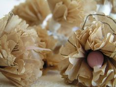 paper flowers made from pattern tissue paper.