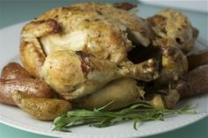 """""""The best way to execute French cooking is to get good and loaded and whack the hell out of a chicken. Bon appétit."""" --Julia Child. Pictured here, her famous Tarragon Chicken (Poulet Poele a l'Estragon)"""