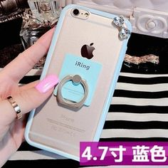 For Iphone 6 6s Soft Silicon Ring Stand Back Phone Cover Candy Color Cute Cartoon Elephant Zebra Pattern Case