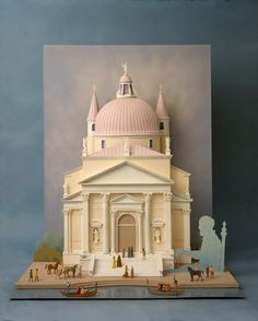 """Palladio's Churdh of the Redemption (il Redentore) - Paper Sculpture by Ellen Rixford Studio; """"For Gucci Italian Geniuses series, the great architect's Venetian masterpiece, paper sculpture about 4 feet tall. Ghost of Palladio draws up the plans. Book Sculpture, Paper Sculptures, Paper Architecture, Architecture Models, Paper Pop, Paper Magic, Cardboard Art, Up Book, Paper Artwork"""