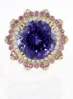 18k Gold and Diamond Tanzanite Blossom Ring with Pink Sapphires by Erica Courtney®