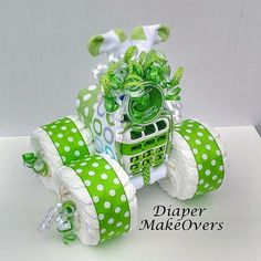 Unique Baby Boy Diaper Cake - Baby Shower Gift or Decoration - Blue 4 Wheeler…