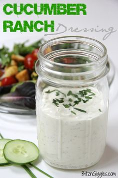 Ranch Dressing Cucumber Ranch Dressing - A homemade creamy, dreamy ranch with a subtle hint of cucumber. SO GOOD!Cucumber Ranch Dressing - A homemade creamy, dreamy ranch with a subtle hint of cucumber. SO GOOD! Cucumber Dressing, Salad Dressing Recipes, Salad Dressings, Sauce Recipes, Cooking Recipes, Healthy Recipes, Cucumber Recipes, Cucumber Dip, Juicer Recipes