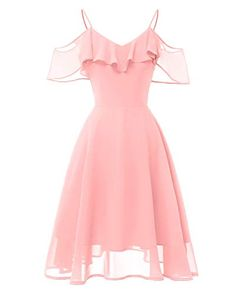 Vestido de chifón con Hombros Descubiertos Vestido de chifón con Hombros Descubiertos (Color : Pink Size : S)