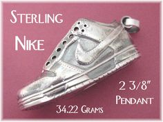 """NIKE Sneaker - Sterling Silver Shoe Pendant - 2 3/8"""" Large 34.22 Grams - Great Gift Sports Runner Track Field Athletics - FREE SHIPPING by FindMeTreasures on Etsy"""