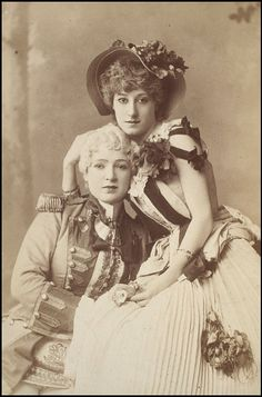 Photograph of Minnie Mario as the Prince with Kate Vaughan in the title role of Cinderella at the Theatre Royal Drury Lane, ca. 1883, W Downey Photographers, London