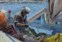 Greek fisherman on boat mending net- Original small oil painting by KeithDanielart on Etsy Greek, Boat, The Originals, Unique Jewelry, Handmade Gifts, Painting, Etsy, Vintage, Kid Craft Gifts