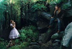 Dorothy meets the lion, with Kiera Knightly; photo by Annie Leibovitz