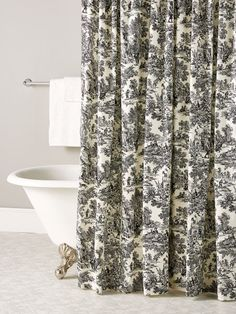 Update your bathroom with our French Toile Patterned Shower Curtain. The timeless pattern of this curtain adds to any bathroom style. Toile Curtains, Black Curtains, French Bathroom Decor, Cozy Bathroom, White Bathroom, Master Bathroom, Vinyl Shower Curtains, Black Shower, Shabby Chic Bedrooms