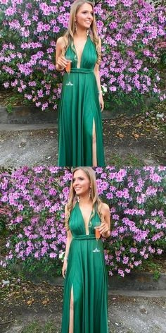 Deep V-Neck Green Prom Dresses, Long Prom Party Dresses for girls, Elegant Prom Dresses in Vogue Senior Prom Dresses, Elegant Prom Dresses, A Line Prom Dresses, Prom Dresses Online, Cheap Prom Dresses, Modest Dresses, Party Dresses, Evening Dresses, Prom Gowns