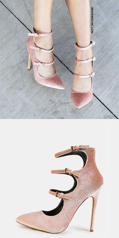 2ebebcdfd17f Stiletto Multi Strap Velvet Heels NUDE Dressy Shoes