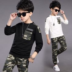 19.42$  Watch now - http://alipz5.shopchina.info/go.php?t=32794423710 - Spring 2017 Kids Boys cotton camouflage sport long sleeved t-shirt+pant two pieces suit 19.42$ #buyonline