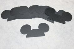 "Disney Mickey Ears Hat 3"" Die Cuts LOT 10 Black Textured, 4 Cards, Scrapbooking #Handmade"