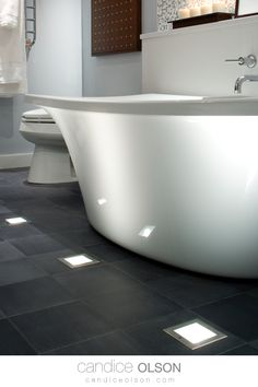 Show off your Free-Standing Bathtub curves with in-floor lighting. Use outdoor light fixtures indoors. Landscape Lighting in the Bathroom • #candiceolson #candiceolsondesign Outdoor Light Fixtures, Outdoor Lighting, Standing Bathtub, Candice Olson, Landscape Lighting, Creative Design, Bathroom Lighting, Bathroom Ideas, Bathrooms