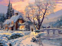 New Thomas Kinkade Puzzles Thomas Kinkade Puzzles, Thomas Kinkade Art, Thomas Kinkade Christmas, Winter Painting, Winter Art, Vintage Christmas Images, Christmas Pictures, Christmas Scenes, Christmas Art