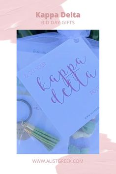 Spoil your new members this recruitment with the Pref Present bundle! Gift bag includes a sorority tassel keychain, hair tie set, and button set. Kappa Delta Gift Bags | Kappa Delta Bid Day | KD New Member Gifts | Kappa Delta Recruitment | Sorority Bid Day | Sorority Recruitment | Bid Day Bags | Sorority New Member Gift Ideas #BidDayGifts #SororityRecruitment Sorority Bid Day, Sorority Recruitment, Kappa, Alpha Delta, Delta Zeta, Delta Design, Bid Day Gifts, Omega Alpha, Normal School