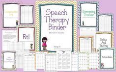 Speech Therapy Organizational Binder — The Speech Bubble