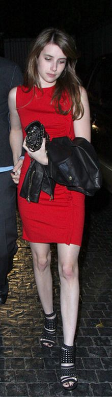 Who made Emma Roberts black leather jacket and black cut out shoes that she wore in Hollywood?