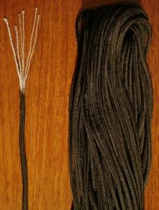 Paracord- parachute cord- many uses- I once dumpster dived and scored some hot air balloon cord- it had metal strands on the inside- this stuff is amazing