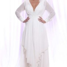 Sheer Chiffon Long Sleeve Wedding Gowns for Plus Size Brides