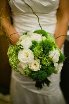 White garden roses, green hydrangea, roses and green trick dianthus green wedding flowers centerpiece