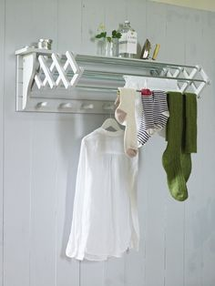 Extending Clothes Dryer- The perfect solution when space is tight, this versatile dove grey wooden dryer has seven useful rails, six wooden hooks beneath and a handy top shelf. Made from painted birch plywood, with mottled zinc rails.  £125.00  www.coxandcox.co.uk