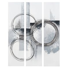 maison du monde triptyque argente 75 x 100 cm abstract circle 7999