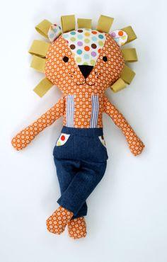 17-inch Stuffed Fabric Lion Doll by LiaAndLucy on Etsy