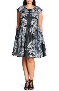 'Femme Royale' Fit & Flare Dress (Plus Size)