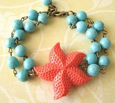 Starfish Bracelet Coral and Turquoise Jewelry Beaded by zafirenia