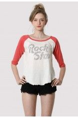 Studded Rock Star T-Shirt Raglan Sleeves in Pink  #Chicwish