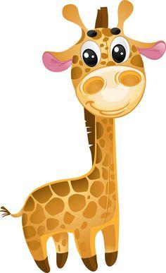 Cute cartoon giraffe vector set