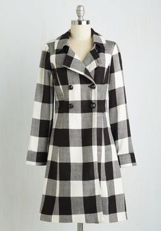 Staten Island Sweetheart Coat by Myrtlewood - Spring, Woven, 2, Long, Black, White, Checkered / Gingham, Plaid, Buttons, Pockets, Vintage Inspired, 60s, Double Breasted, Long Sleeve, Fall, Exclusives, Private Label, Work