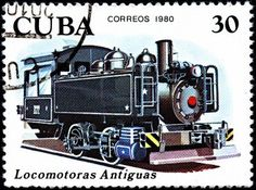 CUBA - CIRCA 1980:A Postage Stamp Shows Antique Locomotive, circa 1980 Stock Photo