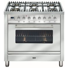 Freestanding Ilve Dual Fuel Oven/Stove NT906WMPSS 90cm freestanding cooker with 6 gas burners and electric oven