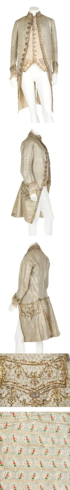 Frockcoat and wasitcoat, Italian, c.1780, silver thread embroidery, gold worked buttons, sprigged with roses | Kerry Taylor Auctions