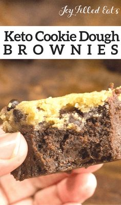 My Chocolate Chip Cookie Dough Brownies have a thick gooey, fudge brownie underneath a layer of raw cookie dough. - Low Carb, Grain/Gluten/Sugar-Free, THM S Keto Cookie Dough, Cookie Dough Brownies, Chocolate Chip Cookie Dough, Keto Cookies, Keto Brownies, Keto Cupcakes, Sugar Free Treats, Sugar Free Desserts, Keto Desserts