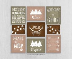 Woodland Nursery Art Prints Set of 9 - Adventure Nursery - Be Brave, Explore - Childrens Art - Personalized Nursery Decor - Camping Nursery