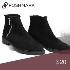 Black suede short boots Fashionable black suede boots to wear with your favorite jeans. Practically new. Shoes Ankle Boots & Booties