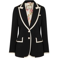 Gucci Grosgrain-trimmed cady blazer (€1.710) ❤ liked on Polyvore featuring outerwear, jackets, blazers, blazer, patterned blazer, preppy blazer, gucci blazer, tailored blazer and pattern jacket