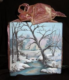 Arts And Crafts Style Furniture Glass Cube, Glass Boxes, Glass Art, Painted Glass Blocks, Lighted Glass Blocks, Christmas Glass Blocks, Christmas Art, Glass Block Crafts, Painted Ornaments