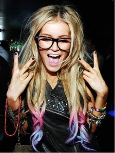 Party hard: Rocker Dip Dyed Hair and geeky glasses #goggles plus black leather jacket