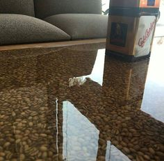 Coffee bean table! Totally possible to do with Countertop Epoxy!