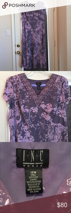 INC International Concepts Woman: Silk Maxi Dress INC International Concepts Woman Beautiful Maxi Dress with detailed embroidery. 100% silk purple and lavender side zip NWT INC International Concepts Dresses Maxi