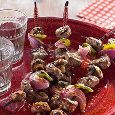 Greek Steak Pitas with Caramelized Onions and Mushrooms Recipe Caramelized Onions And Mushrooms, Stuffed Mushrooms, Stuffed Peppers, Traditional Gyro Recipe, Portabella Steak, Steak Kabobs, Top Sirloin Steak, Greek Seasoning, Italian Salad